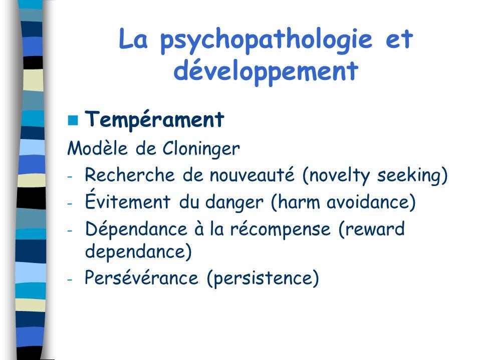 La psychopathologie et développement Tempérament Modèle de Cloninger - Recherche de nouveauté (novelty seeking) - Évitement du danger (harm avoidance)