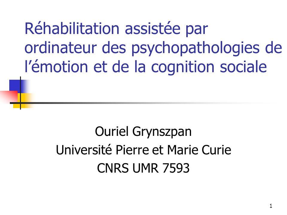 32 Évaluation (Eack et al, 2007) Mayer Salovey Caruso Emotional Intelligence Test : Perception des émotions Utiliser les émotions pour la réflexion et la prise de décision Comprendre et gérer les émotions Mesure du EQ (Emotional Quotient)