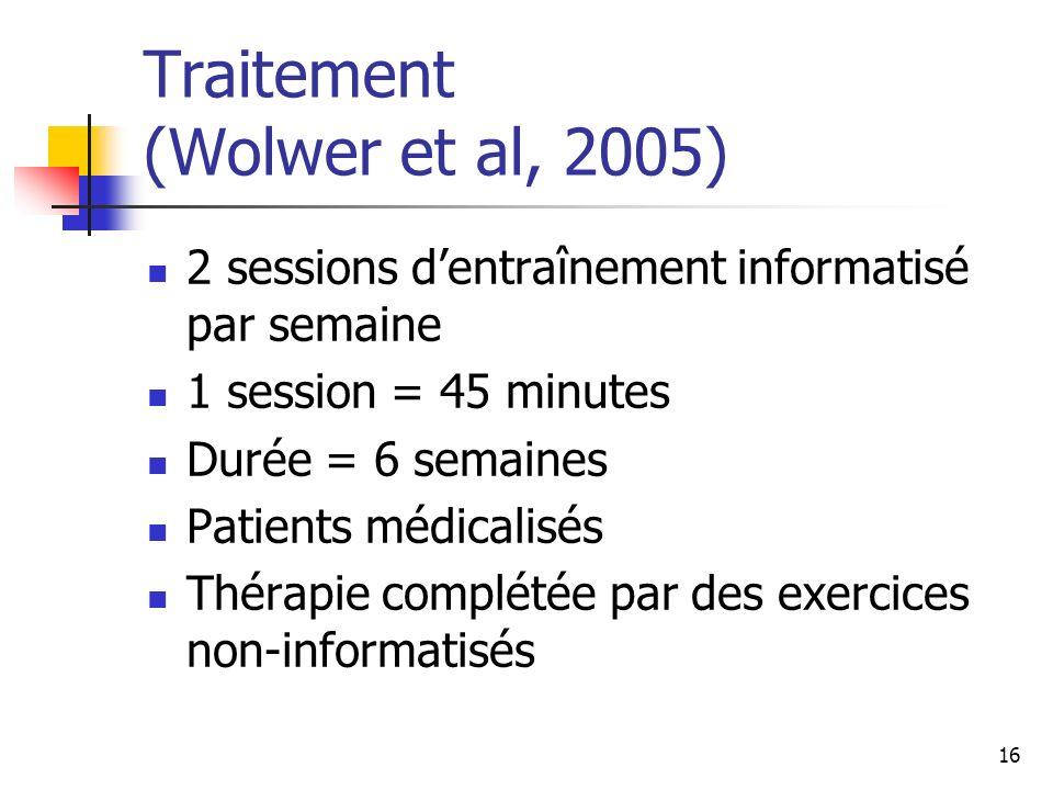 16 Traitement (Wolwer et al, 2005) 2 sessions dentraînement informatisé par semaine 1 session = 45 minutes Durée = 6 semaines Patients médicalisés Thé