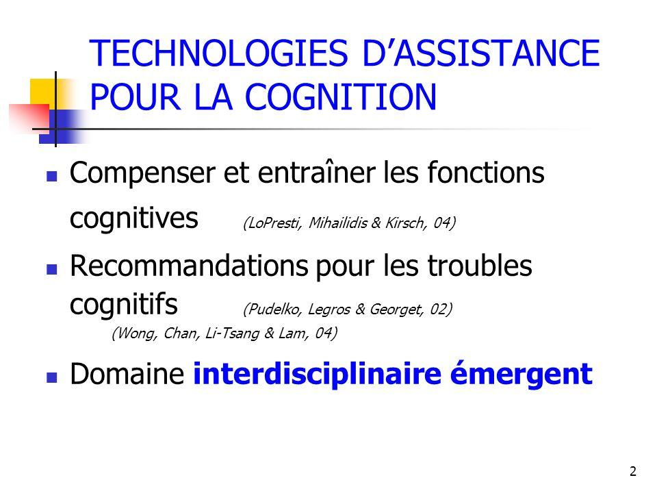 2 TECHNOLOGIES DASSISTANCE POUR LA COGNITION Compenser et entraîner les fonctions cognitives (LoPresti, Mihailidis & Kirsch, 04) Recommandations pour