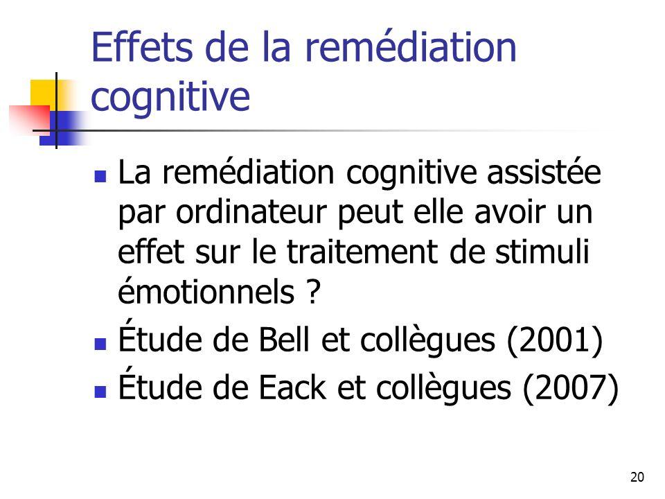 20 Effets de la remédiation cognitive La remédiation cognitive assistée par ordinateur peut elle avoir un effet sur le traitement de stimuli émotionne