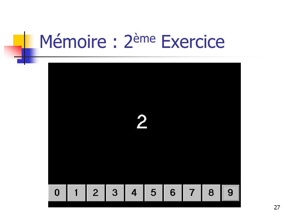 27 Mémoire : 2 ème Exercice