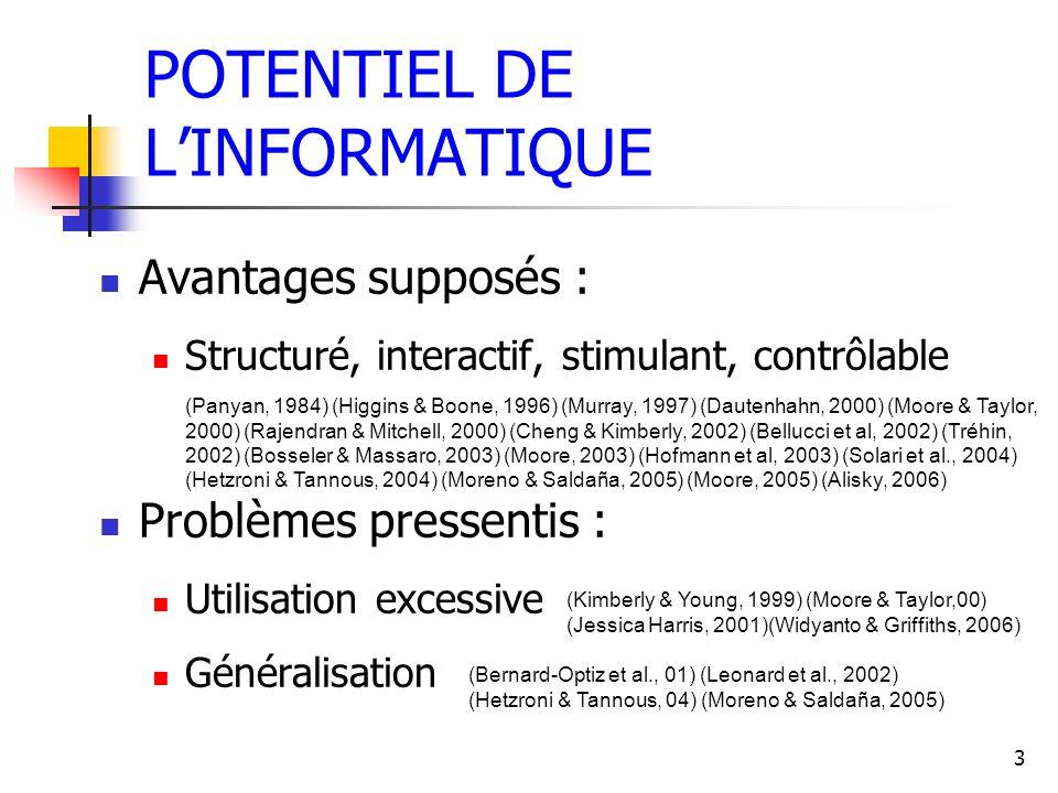 EXPÉRIMENTATIONS CLINIQUES PathologiePublications Traumatisme Crânien (Ruff et al, 94) (Chen et al, 97) (Bergman, 00) (Broek et al, 00) (Chute, 02) (Diamond et al., 03) (Gorman et al, 03) (Soong et al, 05) Autisme (Panyan, 84) (Moore & Calvert, 00) (Bernard- Opitz et al, 01) (Bosseler & Massaro, 03) (Hetzroni & Tannous, 04) (Moore et al, 05) (Grynszpan et al, 05) Schizophrénie (Field et al, 97) (Suslow et al, 01) (Rodriguez et al, 02) (Bellucci et al, 03) (Bender et al, 04) (Wölwer et al, 05) Alzheimer/Démence (Mihailidis et al, 01) (Hofmann et al, 03) (Alisky, 06) Stress traumatique (Hirai et al, 05) Déficience intellectuelle (Wong et al, 04) (Moreno & Saldaña, 05) Troubles du langage (Adrian, 03) (Van de Sandt-Koenderman, 04) Sclérose en plaque (Solari et al, 04)