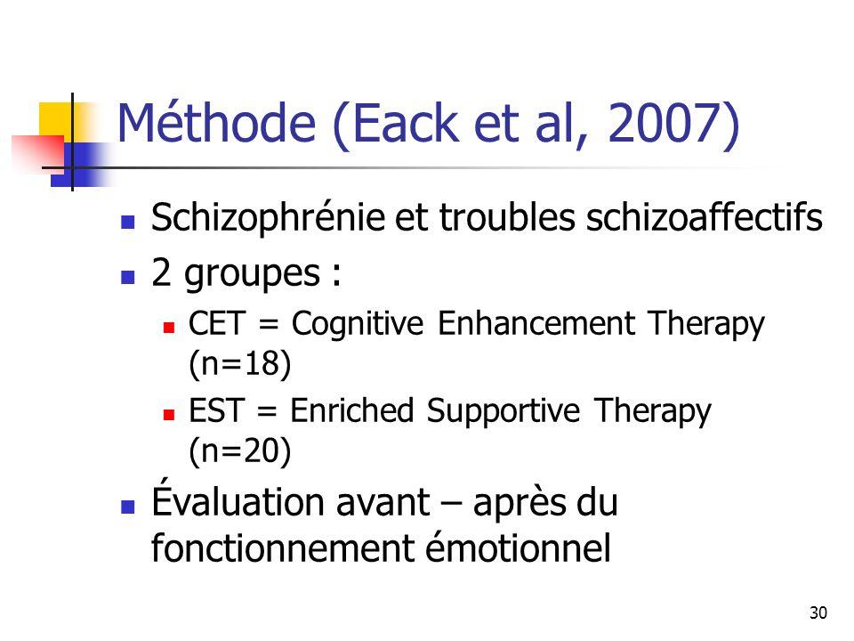 30 Méthode (Eack et al, 2007) Schizophrénie et troubles schizoaffectifs 2 groupes : CET = Cognitive Enhancement Therapy (n=18) EST = Enriched Supporti