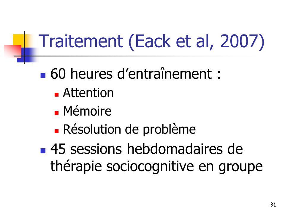 31 Traitement (Eack et al, 2007) 60 heures dentraînement : Attention Mémoire Résolution de problème 45 sessions hebdomadaires de thérapie sociocogniti