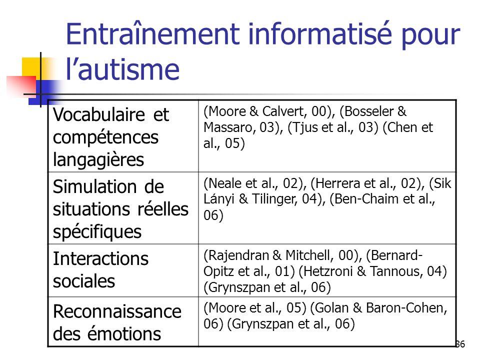 36 Entraînement informatisé pour lautisme Vocabulaire et compétences langagières (Moore & Calvert, 00), (Bosseler & Massaro, 03), (Tjus et al., 03) (C