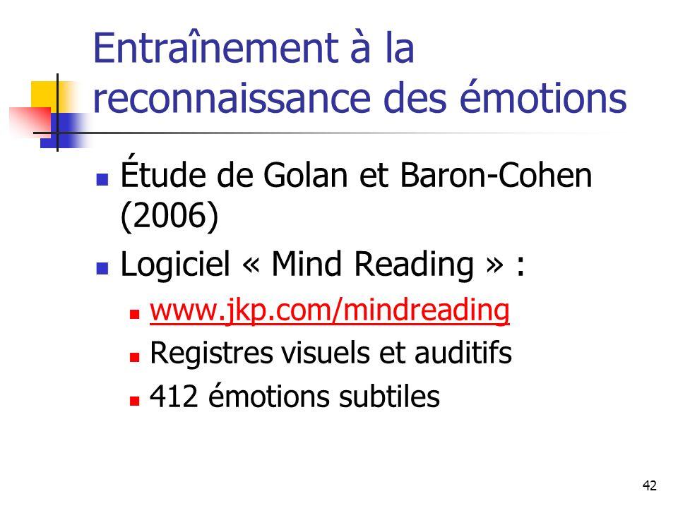 42 Entraînement à la reconnaissance des émotions Étude de Golan et Baron-Cohen (2006) Logiciel « Mind Reading » : www.jkp.com/mindreading Registres vi
