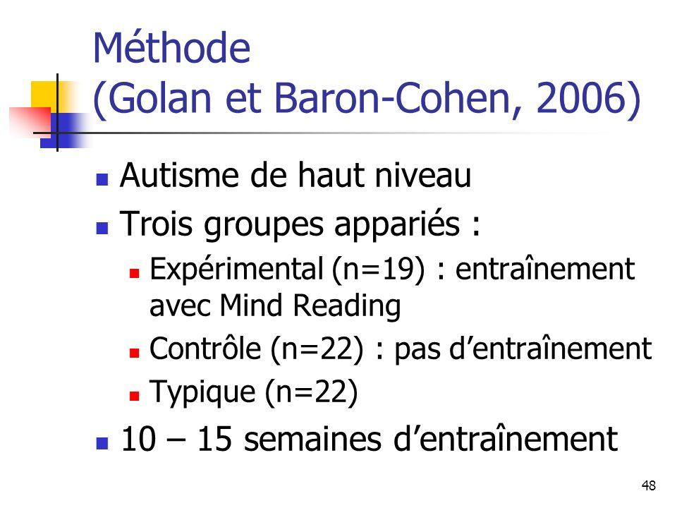 48 Méthode (Golan et Baron-Cohen, 2006) Autisme de haut niveau Trois groupes appariés : Expérimental (n=19) : entraînement avec Mind Reading Contrôle