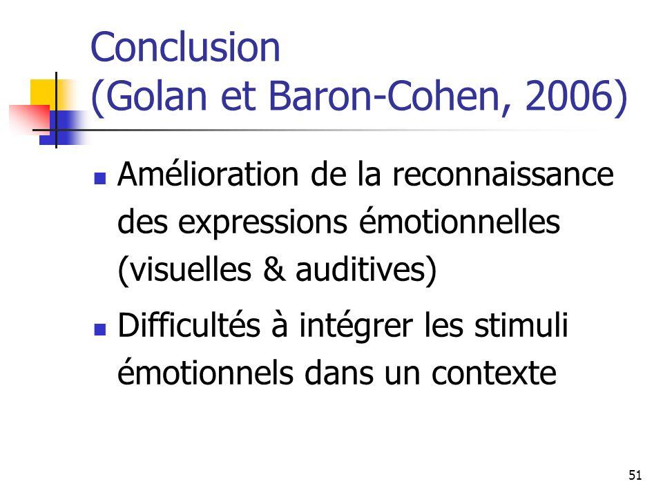 51 Conclusion (Golan et Baron-Cohen, 2006) Amélioration de la reconnaissance des expressions émotionnelles (visuelles & auditives) Difficultés à intég