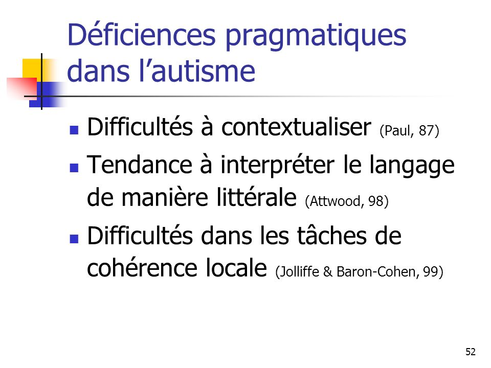 52 Déficiences pragmatiques dans lautisme Difficultés à contextualiser (Paul, 87) Tendance à interpréter le langage de manière littérale (Attwood, 98)