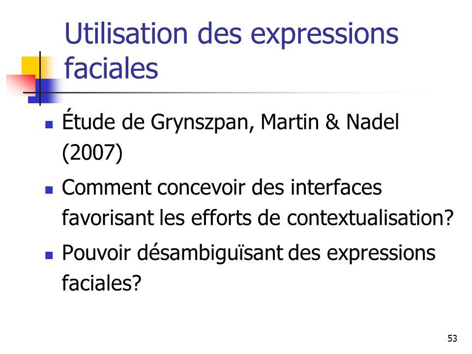 53 Utilisation des expressions faciales Étude de Grynszpan, Martin & Nadel (2007) Comment concevoir des interfaces favorisant les efforts de contextua