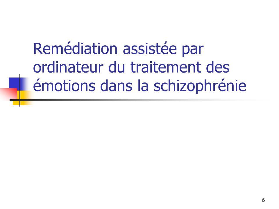 7 Reconnaissance des expressions faciales Anomalies dans lexpression et la reconnaissance des émotions Altération de la reconnaissance des expressions faciales (Kohler et al, 2000) : Stable dans le temps (Addington & Addington, 1998) Pas deffet des antipsychotiques (Wolwer et al, 2005) Conséquences sur le fonctionnement social et émotionnel