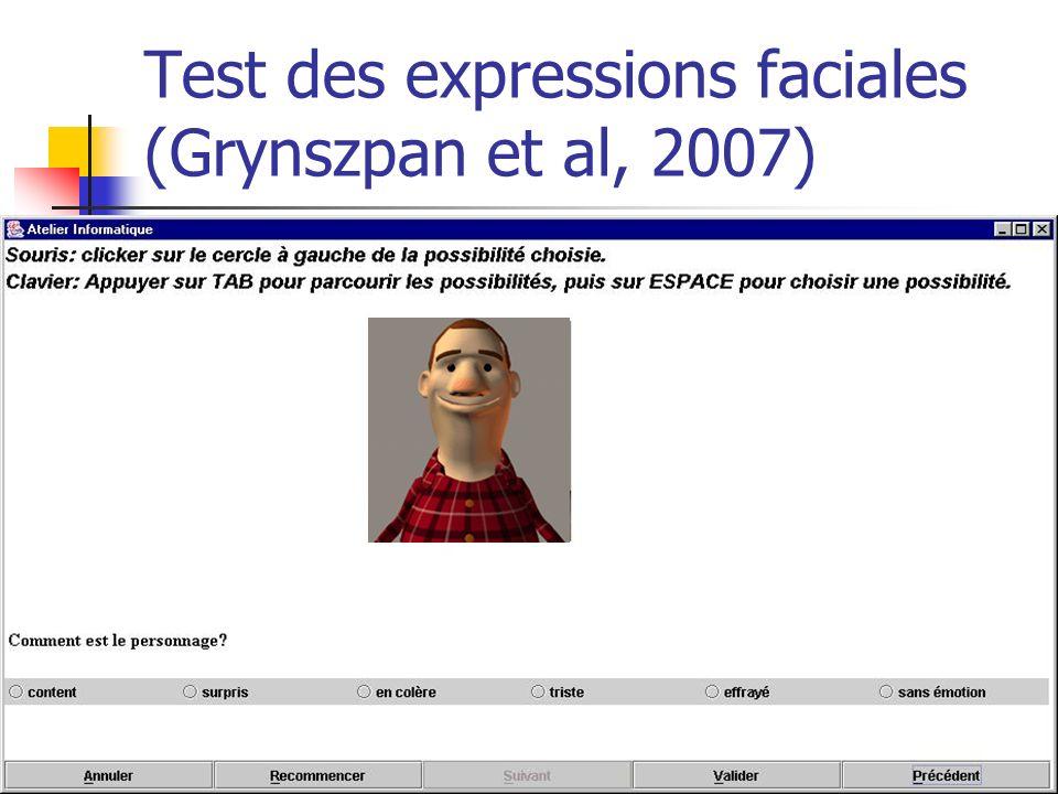 60 Test des expressions faciales (Grynszpan et al, 2007)