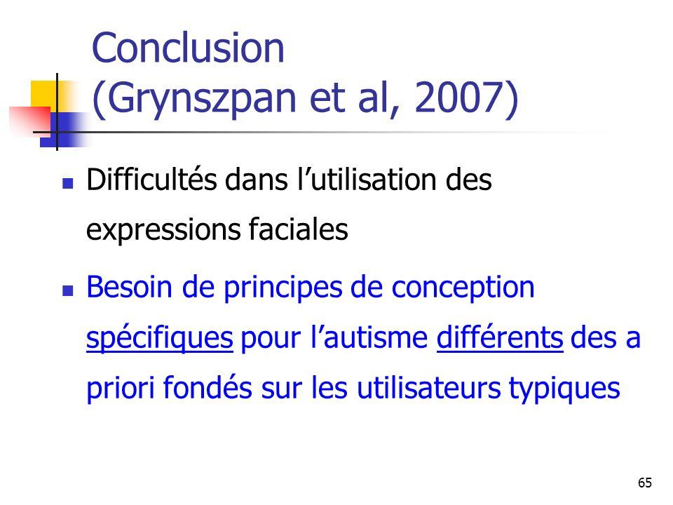 65 Conclusion (Grynszpan et al, 2007) Difficultés dans lutilisation des expressions faciales Besoin de principes de conception spécifiques pour lautis