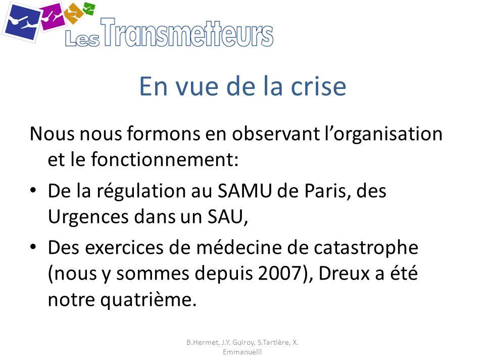En vue de la crise Nous nous formons en observant lorganisation et le fonctionnement: De la régulation au SAMU de Paris, des Urgences dans un SAU, Des
