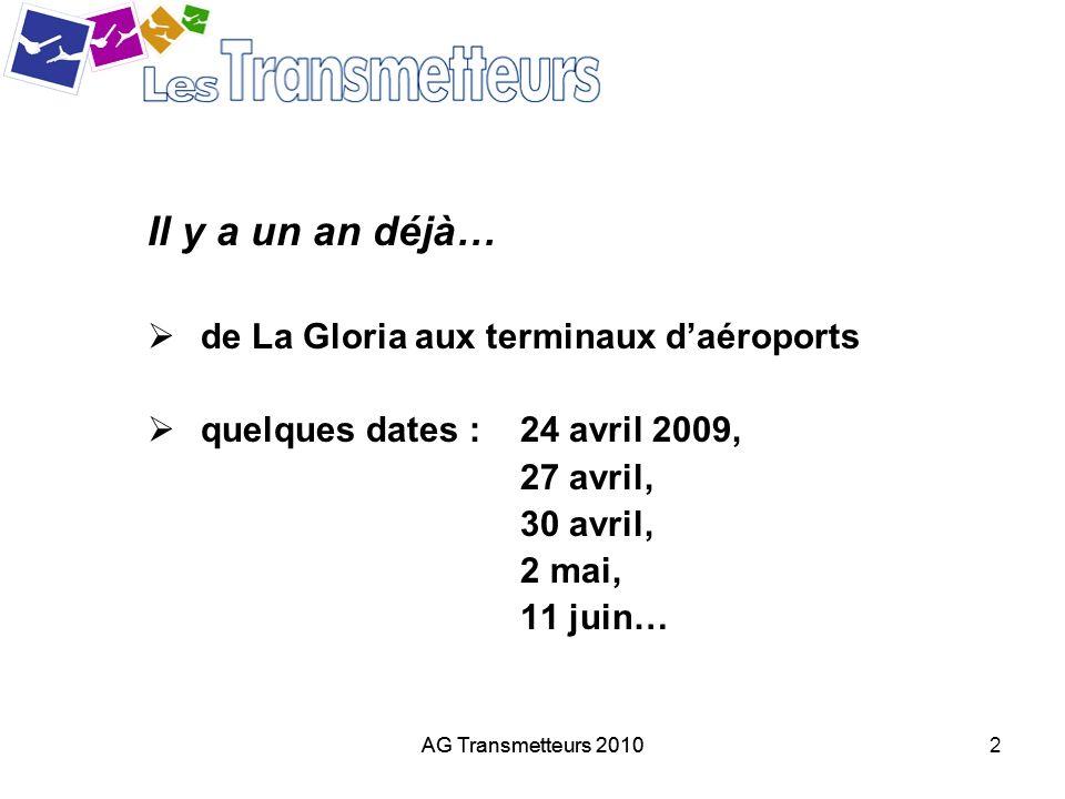 AG Transmetteurs 20102 Il y a un an déjà… de La Gloria aux terminaux daéroports quelques dates : 24 avril 2009, 27 avril, 30 avril, 2 mai, 11 juin…