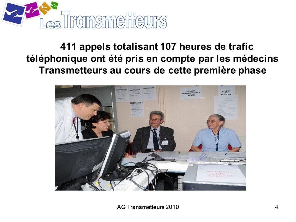AG Transmetteurs 20104 411 appels totalisant 107 heures de trafic téléphonique ont été pris en compte par les médecins Transmetteurs au cours de cette