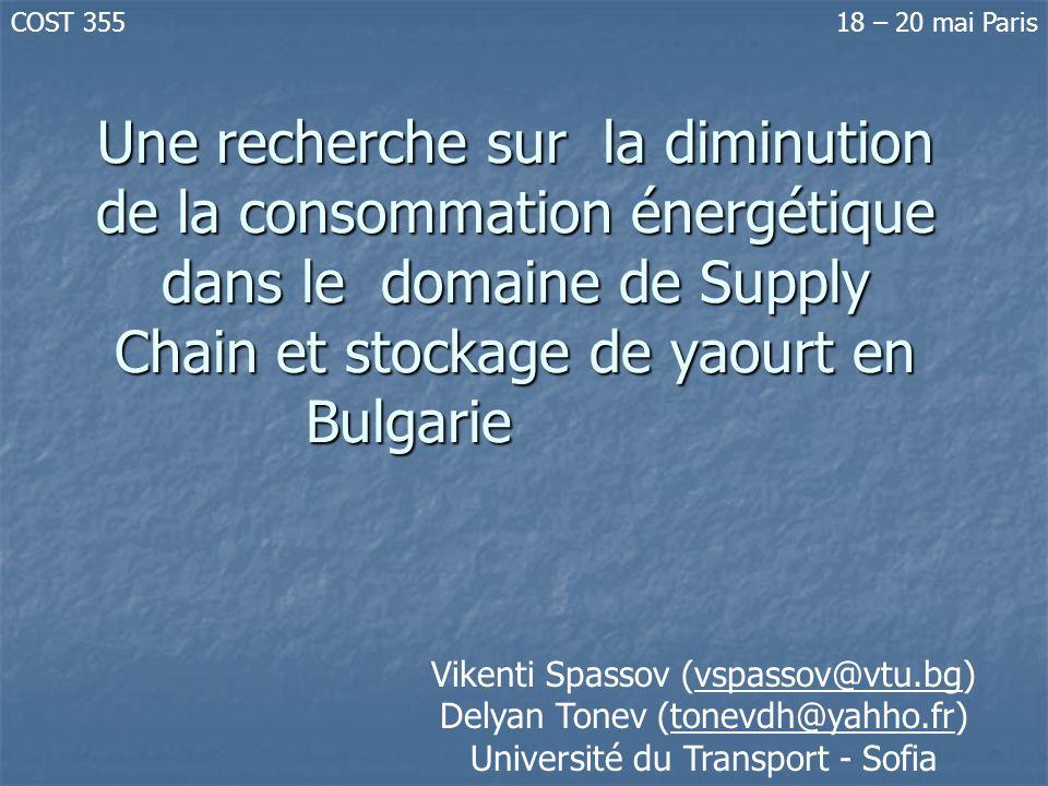 Une recherche sur la diminution de la consommation énergétique dans le domaine de Supply Chain et stockage de yaourt en Bulgarie Vikenti Spassov (vspa