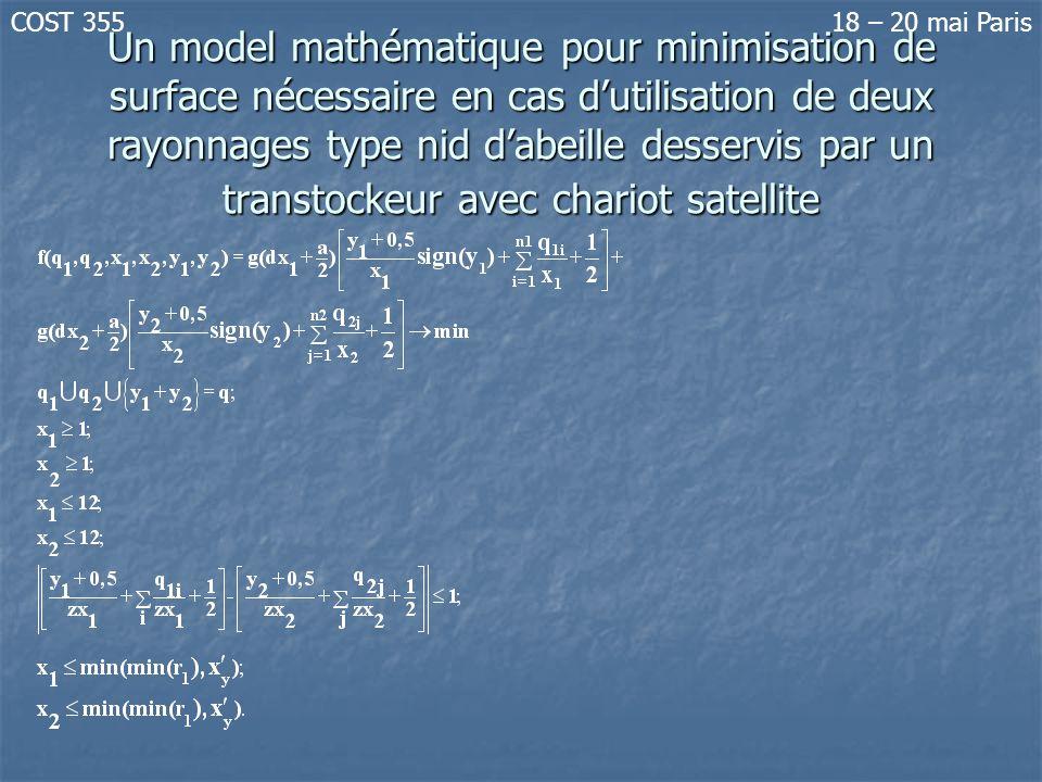 Un model mathématique pour minimisation de surface nécessaire en cas dutilisation de deux rayonnages type nid dabeille desservis par un transtockeur a