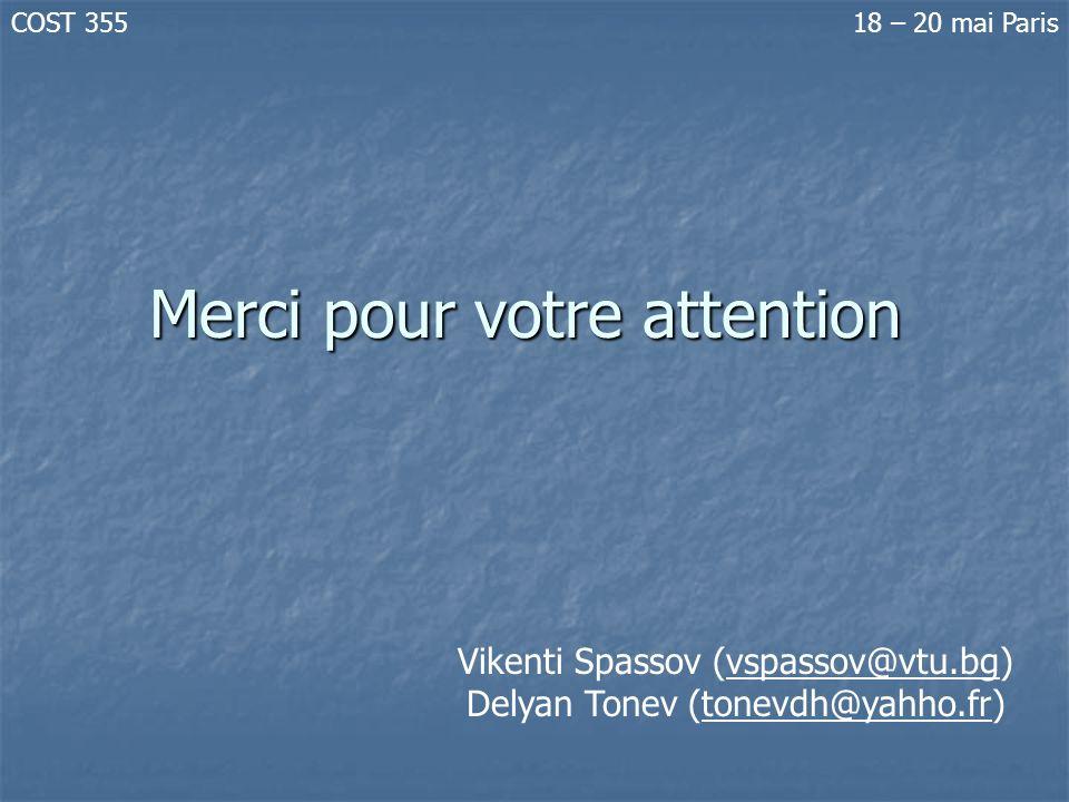 Merci pour votre attention Vikenti Spassov (vspassov@vtu.bg) Delyan Tonev (tonevdh@yahho.fr) COST 35518 – 20 mai Paris