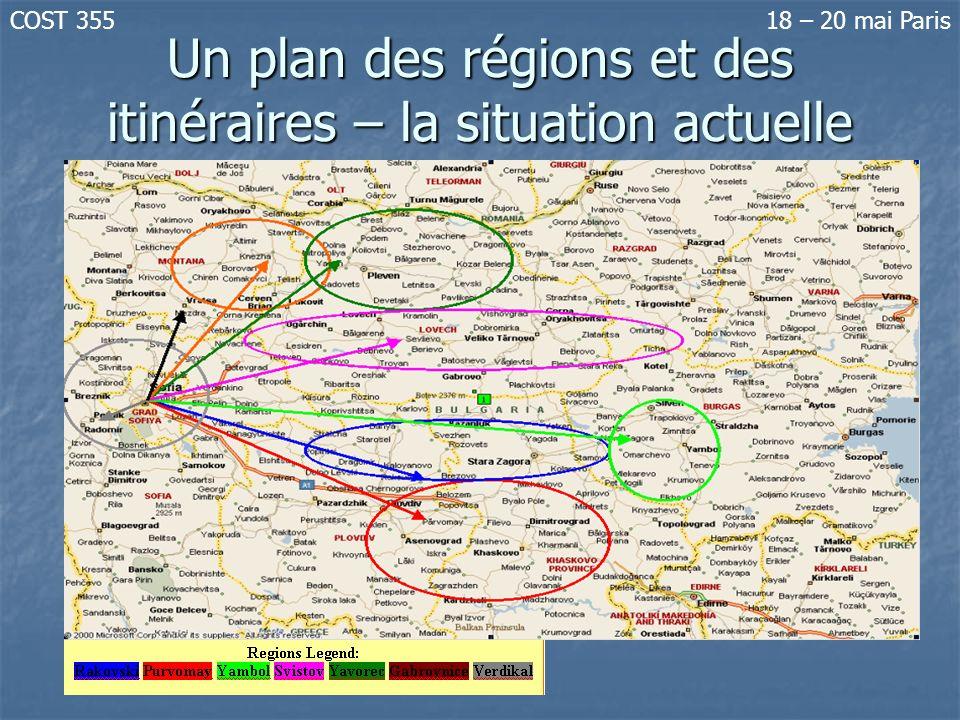 Un plan des régions et des itinéraires – la situation actuelle COST 35518 – 20 mai Paris