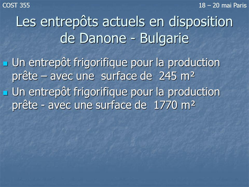 Les entrepôts actuels en disposition de Danone - Bulgarie Un entrepôt frigorifique pour la production prête – avec une surface de 245 m² Un entrepôt f
