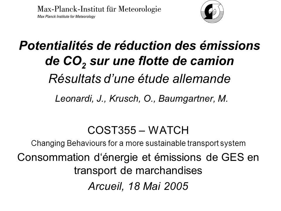 Potentialités de réduction des émissions de CO 2 sur une flotte de camion Résultats dune étude allemande Leonardi, J., Krusch, O., Baumgartner, M.