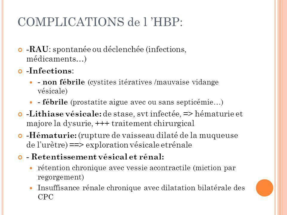 COMPLICATIONS de l HBP: -RAU : spontanée ou déclenchée (infections, médicaments…) -Infections : - non fébrile (cystites itératives /mauvaise vidange v