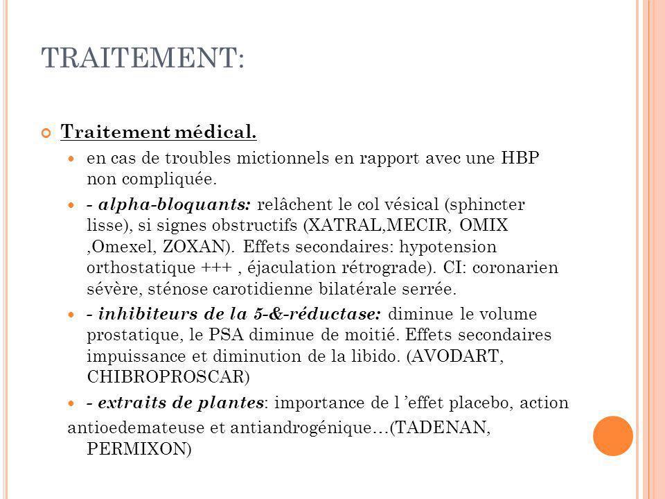 TRAITEMENT: Traitement médical. en cas de troubles mictionnels en rapport avec une HBP non compliquée. - alpha-bloquants: relâchent le col vésical (sp