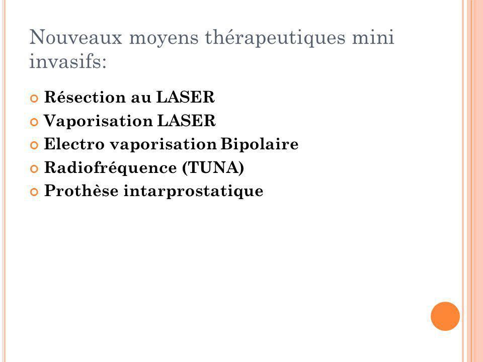 Nouveaux moyens thérapeutiques mini invasifs: Résection au LASER Vaporisation LASER Electro vaporisation Bipolaire Radiofréquence (TUNA) Prothèse inta