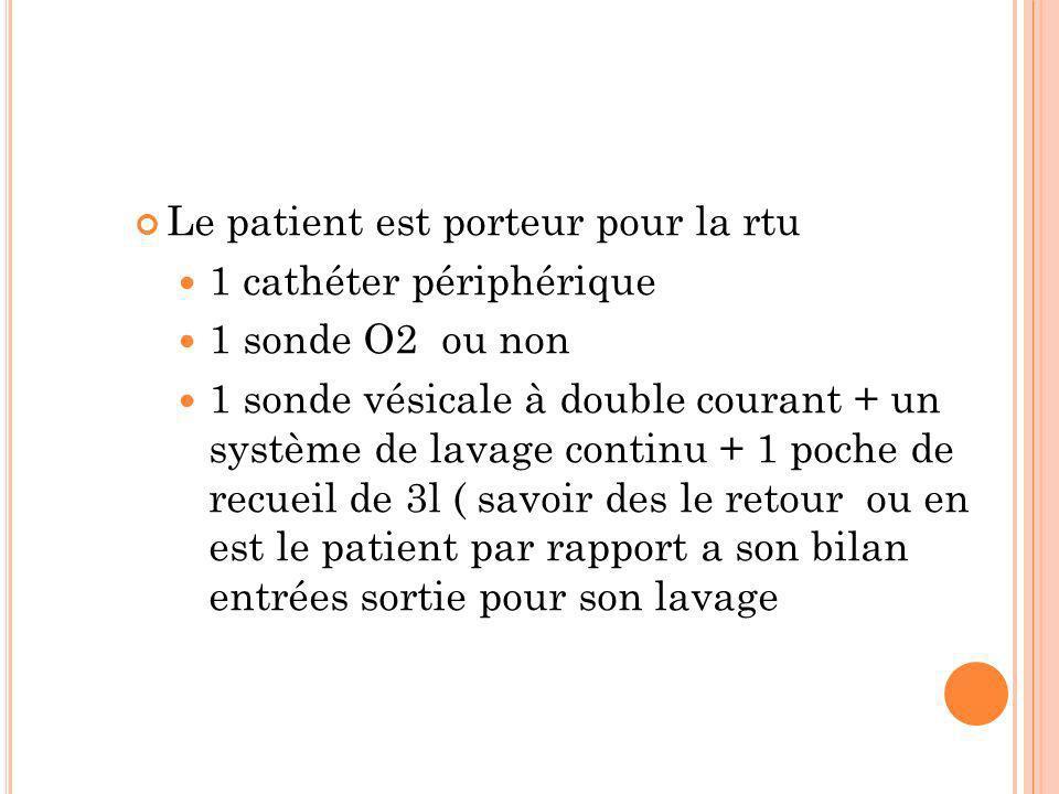 Le patient est porteur pour la rtu 1 cathéter périphérique 1 sonde O2 ou non 1 sonde vésicale à double courant + un système de lavage continu + 1 poch