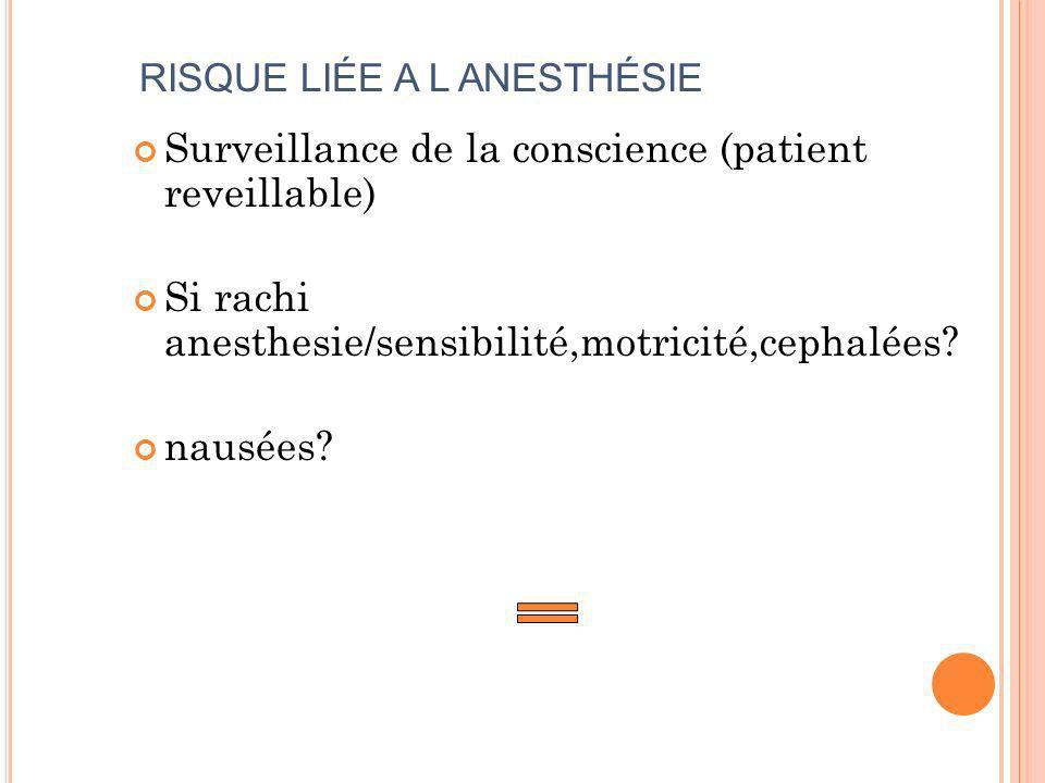 RISQUE LIÉE A L ANESTHÉSIE Surveillance de la conscience (patient reveillable) Si rachi anesthesie/sensibilité,motricité,cephalées? nausées?