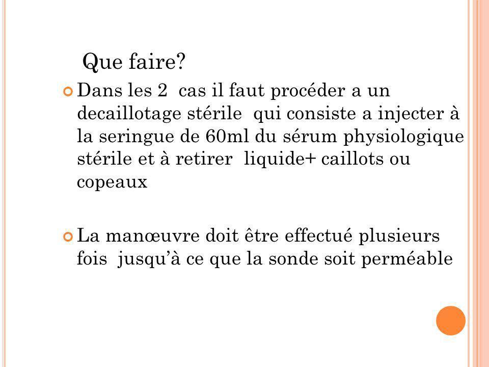 Que faire? Dans les 2 cas il faut procéder a un decaillotage stérile qui consiste a injecter à la seringue de 60ml du sérum physiologique stérile et à