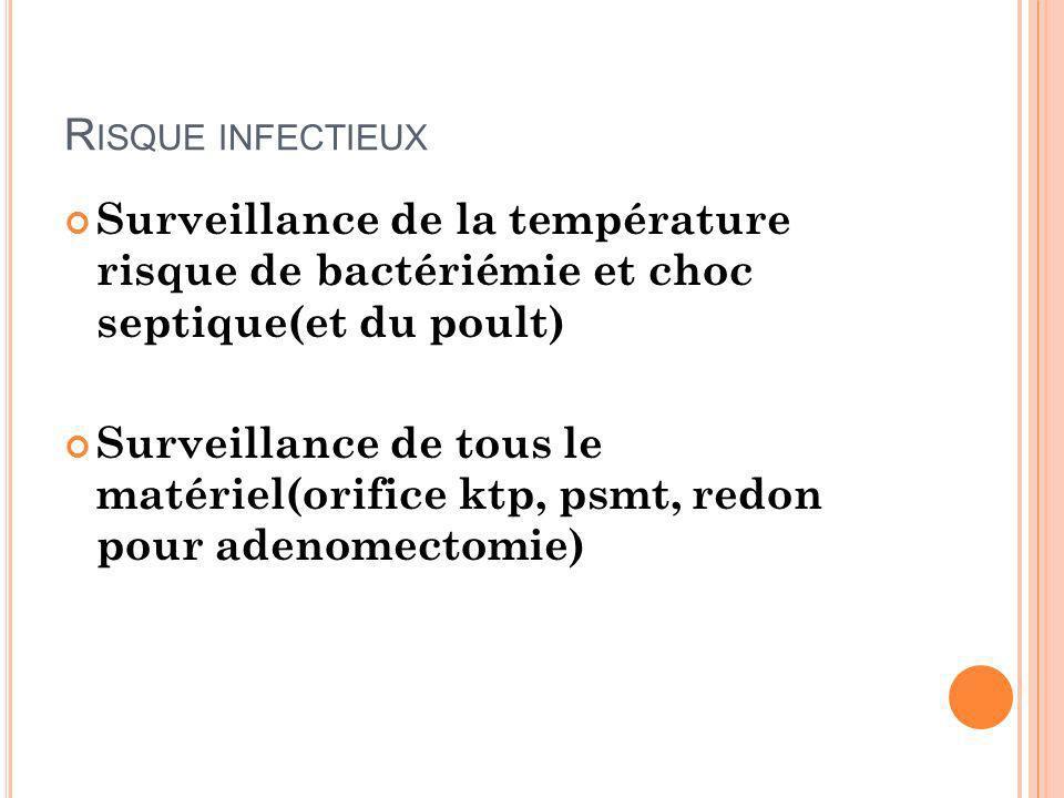 R ISQUE INFECTIEUX Surveillance de la température risque de bactériémie et choc septique(et du poult) Surveillance de tous le matériel(orifice ktp, ps