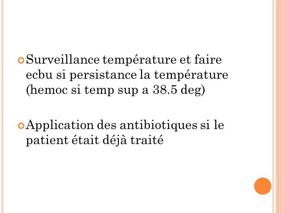 Surveillance température et faire ecbu si persistance la température (hemoc si temp sup a 38.5 deg) Application des antibiotiques si le patient était