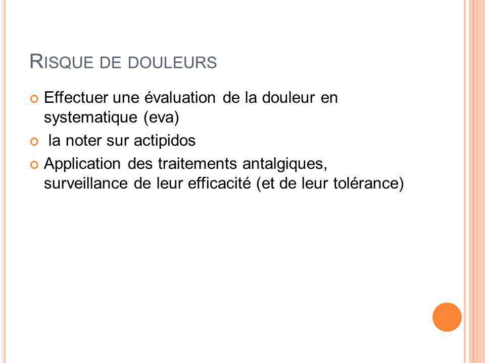 R ISQUE DE DOULEURS Effectuer une évaluation de la douleur en systematique (eva) la noter sur actipidos Application des traitements antalgiques, surve