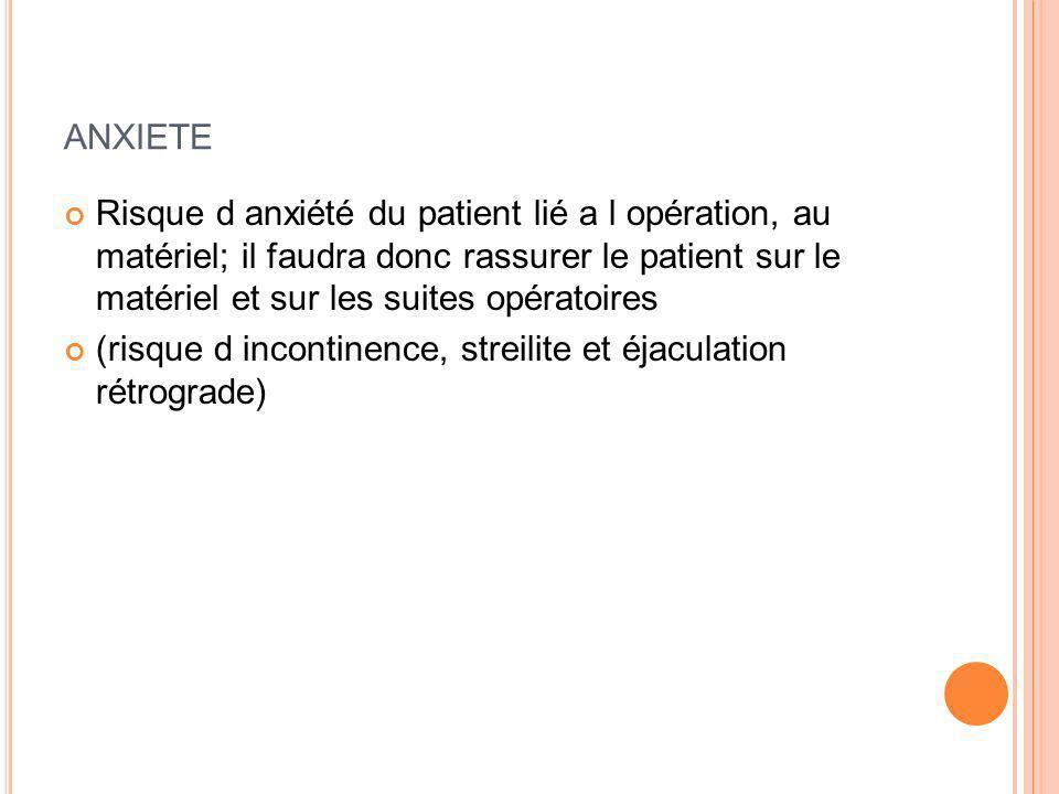 ANXIETE Risque d anxiété du patient lié a l opération, au matériel; il faudra donc rassurer le patient sur le matériel et sur les suites opératoires (