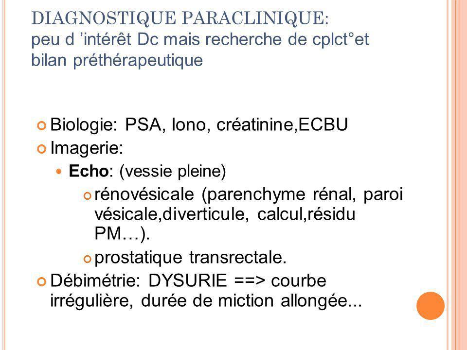 DIAGNOSTIQUE PARACLINIQUE: peu d intérêt Dc mais recherche de cplct°et bilan préthérapeutique Biologie: PSA, Iono, créatinine,ECBU Imagerie: Echo: (ve