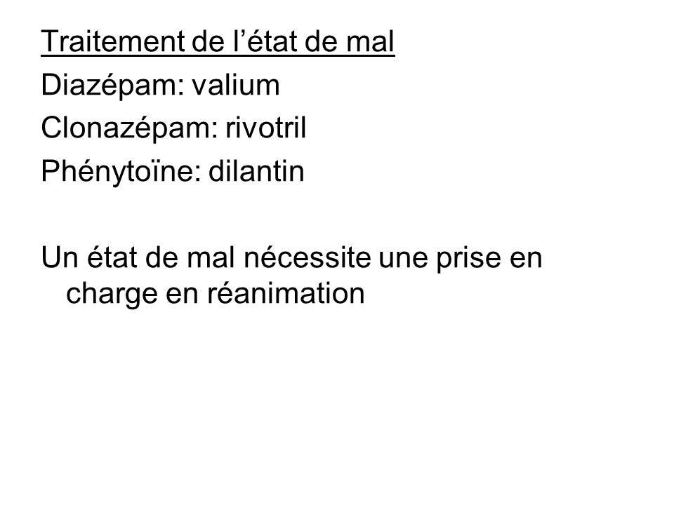 Traitement de létat de mal Diazépam: valium Clonazépam: rivotril Phénytoïne: dilantin Un état de mal nécessite une prise en charge en réanimation