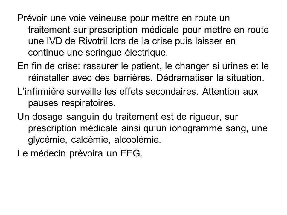 Prévoir une voie veineuse pour mettre en route un traitement sur prescription médicale pour mettre en route une IVD de Rivotril lors de la crise puis