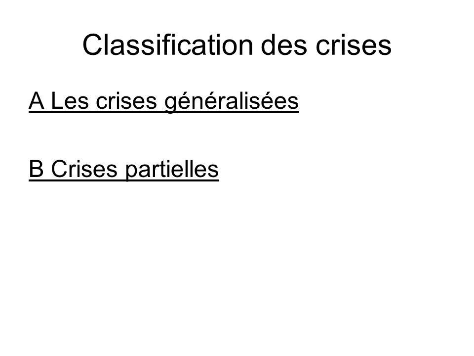 Classification des crises A Les crises généralisées B Crises partielles