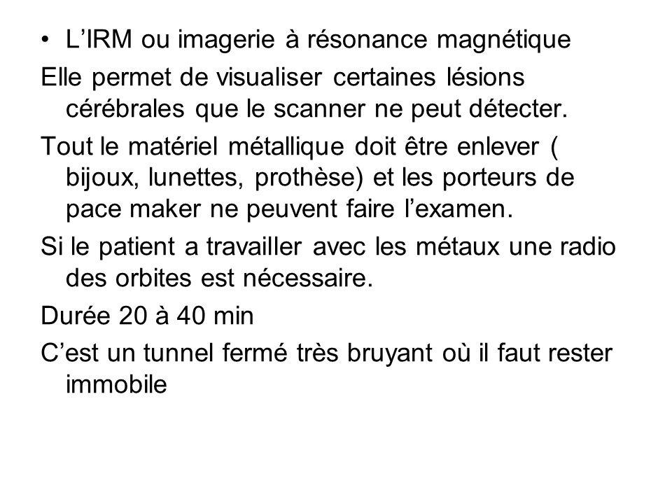 LIRM ou imagerie à résonance magnétique Elle permet de visualiser certaines lésions cérébrales que le scanner ne peut détecter. Tout le matériel métal