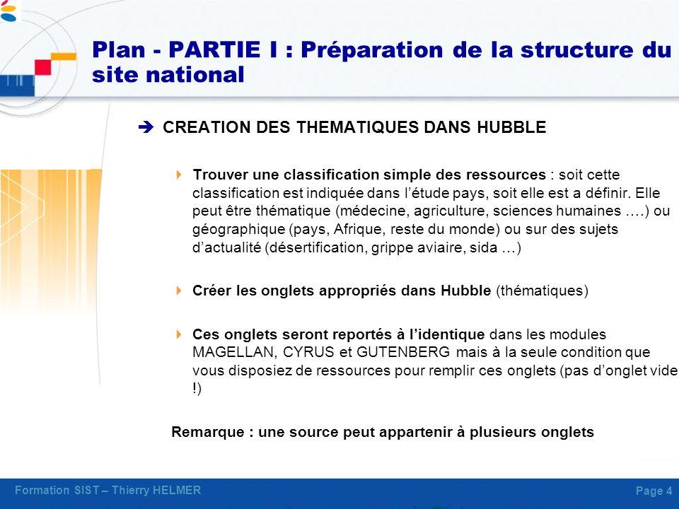 Formation SIST – Thierry HELMER Page 4 Plan - PARTIE I : Préparation de la structure du site national CREATION DES THEMATIQUES DANS HUBBLE Trouver une