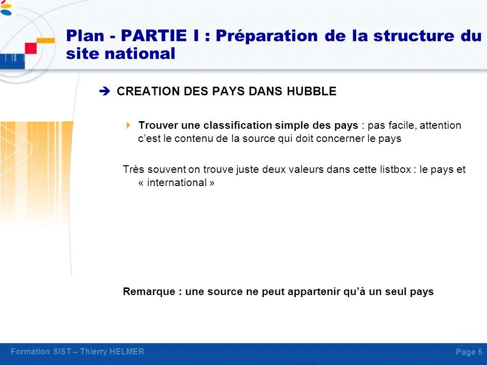 Formation SIST – Thierry HELMER Page 5 Plan - PARTIE I : Préparation de la structure du site national CREATION DES PAYS DANS HUBBLE Trouver une classi