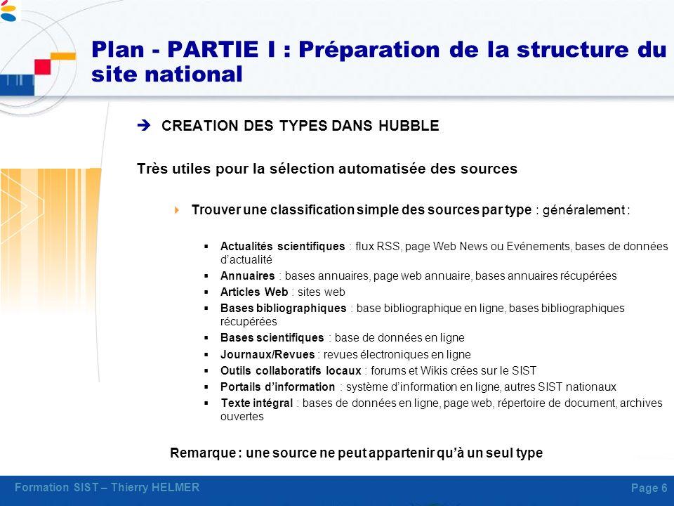 Formation SIST – Thierry HELMER Page 6 Plan - PARTIE I : Préparation de la structure du site national CREATION DES TYPES DANS HUBBLE Très utiles pour