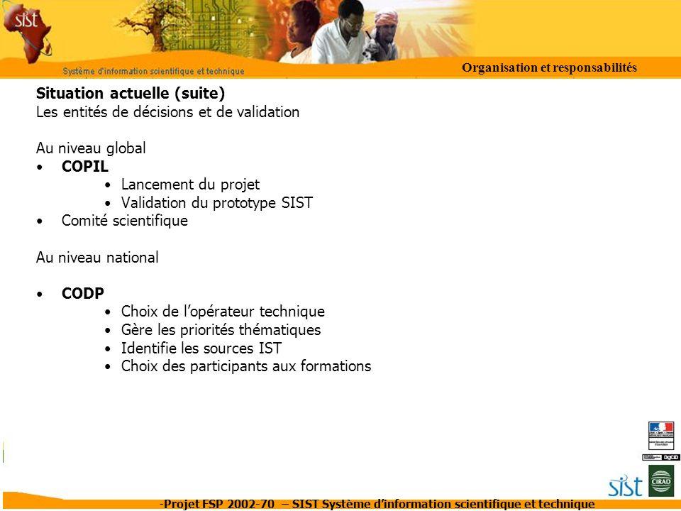 -Projet FSP 2002-70 – SIST Système dinformation scientifique et technique Situation actuelle (suite) Les entités de décisions et de validation Au nive
