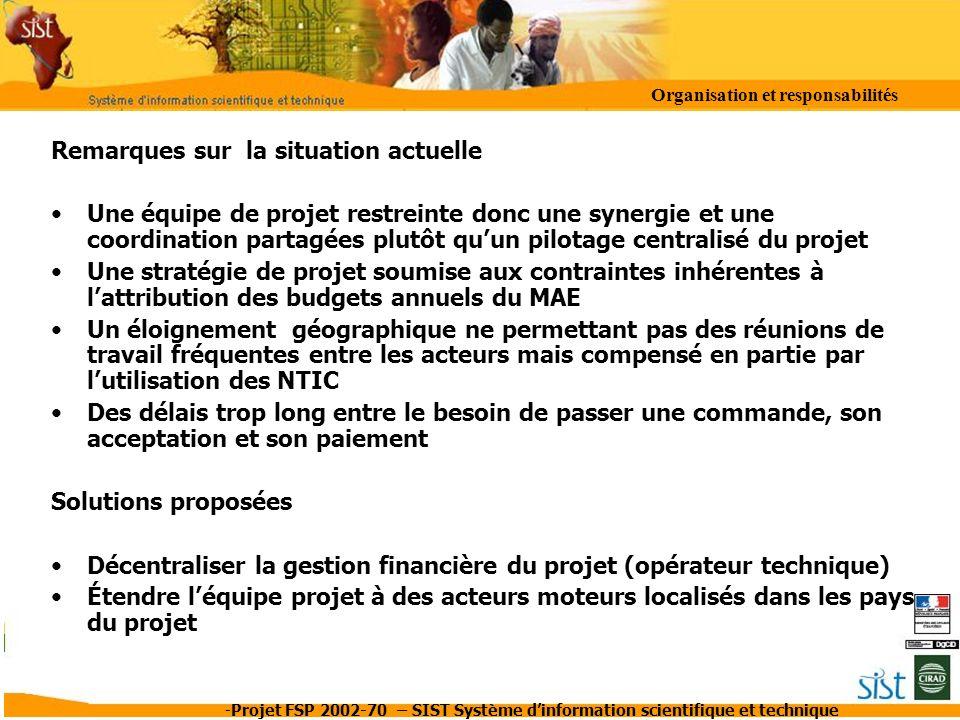 -Projet FSP 2002-70 – SIST Système dinformation scientifique et technique Remarques sur la situation actuelle Une équipe de projet restreinte donc une