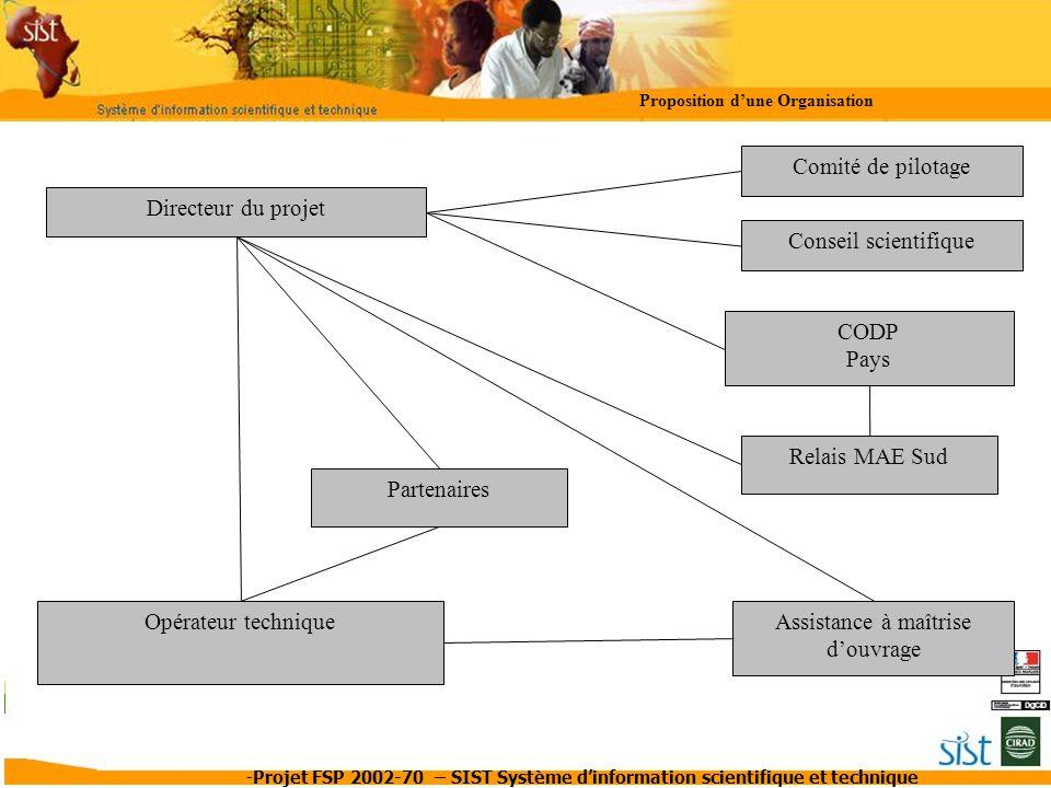 -Projet FSP 2002-70 – SIST Système dinformation scientifique et technique Proposition dune Organisation Directeur du projet Opérateur technique Comité