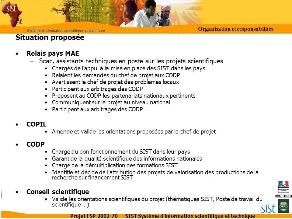 -Projet FSP 2002-70 – SIST Système dinformation scientifique et technique Situation proposée Relais pays MAE –Scac, assistants techniques en poste sur