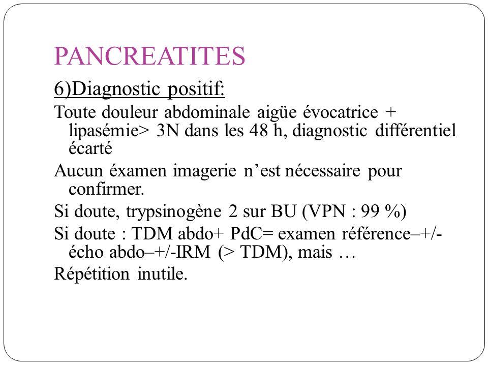 PANCREATITES 6)Diagnostic positif: Toute douleur abdominale aigüe évocatrice + lipasémie> 3N dans les 48 h, diagnostic différentiel écarté Aucun éxame